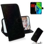 Flower Pattern Leather Stand Case with Card Slots for Xiaomi Mi 10/Mi 10 Pro – Black