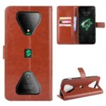 Crazy Horse PU Leather Wallet Mobile Phone Shell for Xiaomi Black Shark 3 – Brown