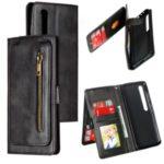 Zipper Pocket 9 Card Slots Leather Wallet Case for Xiaomi Mi 10 / Mi 10 Pro – Black