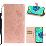 Imprint Butterfly Flower Leather Wallet Case for Xiaomi Redmi Note 9 Pro – Rose Gold