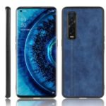 PU Leather Coated PC + TPU Hybrid Phone Protection Case for Oppo Find X2 Pro (Cerramic Back) – Blue
