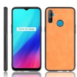 PU Leather Coated PC + TPU Combo Shell for Realme C3 (3 cameras) – Brown