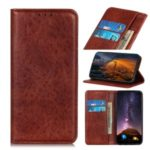 Auto-absorbed Crazy Horse Texture Leather Wallet Case for OnePlus 8 Pro – Brown