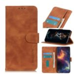 KHAZNEH Wallet Stand Retro Leather Protective Case Shell for OnePlus 8 Pro – Brown