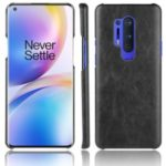 Litchi Skin PU Leather Coated Plastic Mobile Phone Hard Shell for OnePlus 8 Pro – Black