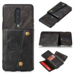 Kickstand Card Holder PU Leather Coated TPU Case Cover [Built-in Vehicle Magnetic Sheet] for OnePlus 8 – Black