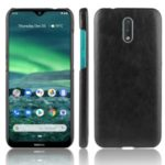 Litchi Style Leather Coated PC Back Shell for Nokia 2.3 – Black