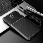 Drop Resistant Carbon Fiber TPU Mobile Phone Case for Nokia C1 – Black