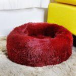 Dog Cat Soft Plush Round Pet Bed Donut Cuddler Bed Diameter 70cm Size XL – Wine Red