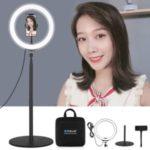 PULUZ 10.2 inch 26cm LED Ring Vlogging Video Light Kits + 140cm Round Base Desktop Mount
