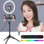 PULUZ Tripod Mount + Dual Phone Bracket + 11.8 inch 30cm RGB Selfie Ring Light Kits