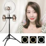 PULUZ 11.8 inch 30cm USB 3 Modes Dimmable Dual Phone Brackets LED Ring Vlogging Video Light Kits with 1.65m Adjustable Tripod Stand and Phone Clamp