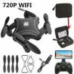 902 Folding Drone Quadcopter WiFi Remote Control Altitude Hold RC Aircraft (720P Camera) – Black