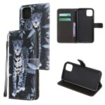 Pattern Printing Cross Texture Leather Wallet Cover with Strap for iPhone 11 6.1-inch – Leopard