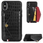 Crocodile Texture Card Holder PU Leather Coated TPU Case for Apple iPhone X/XS – Black