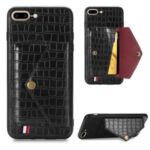 Crocodile Skin Card Holder PU Leather Coated Phone Case for iPhone 7 Plus/8 Plus 5.5 inch – Black