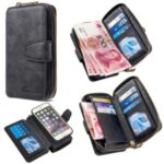 BF001 Leather Wallet Cover Anti-Gravity Zip Phone Case for iPhone 6 / 6S 4.7-inch – Black