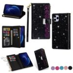 Glittery Starry Style Laser Carving Zipper Wallet Stand Leather Case for iPhone 11 Pro Max 6.5 inch – Black