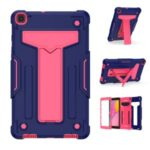 Foldable Kickstand Contrast Color Anti-dust PC Silicone Tablet Shell for Samsung Galaxy Tab A 8.0 Wi-Fi (2019) SM-T290 – Dark Blue/Red