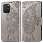 Imprint Butterfly Flower Leather Wallet Stand Case for Samsung Galaxy A91/S10 Lite – Grey