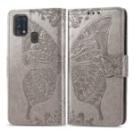 Imprint Butterfly Flower Wallet Leather Stand Case for Samsung Galaxy M31 – Grey