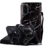 New Pattern Printing Leather Wallet Stand Phone Case for Samsung Galaxy S20 – Black Marble Grain