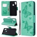 Imprint Butterflies Wallet Stand Flip Leather Case for Samsung Galaxy A11/M11 – Green