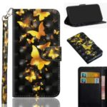 Light Spot Decor Patterns Wallet Stand Leather Cover with Lanyard for Samsung Galaxy A11 – Gold Butterflies