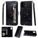 Glitter Powder Zippered Stand Leather Wallet Case with Strap for Samsung Galaxy A41 (Global Version) – Black