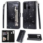 Glitter Powder Zipper Pocket Stand Leather Wallet Case with Strap for Samsung Galaxy A21 – Black