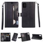Multi-slot with Wallet Zippered Leather Stand Case for Samsung Galaxy A81/Note 10 Lite – Black