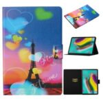 Pattern Printing Stand Leather Card Holder Case for Samsung Galaxy Tab S6 T860 T865 – Eiffel Tower