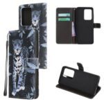 Cross Texture Pattern Printing Leather Wallet Cover with Strap for Samsung Galaxy S20 Ultra – Leopard