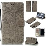 Imprinted Lace Flower Skin Leather with Wallet Stand Case for Samsung Galaxy A41 (Global Version) – Brown