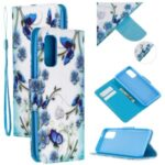 Pretty Pattern Printing Cross Texture Wallet Leather Cover Case for Samsung Galaxy A51 SM-A515 – Blue Flowers