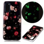 Noctilucent TPU Pattern Printing IMD Cover Shell for Samsung Galaxy S20 – Flowers