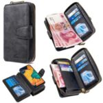 BF001 Detachable 2-in-1 Leather Zipper Wallet Phone Shell for Samsung Galaxy A40 – Black