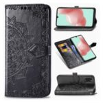 Embossed Mandala Flower Leather Case with Wallet Stand for Samsung Galaxy A41 (Global Version) – Black