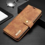DG.MING Detachable 2-in-1 Split Leather Wallet Shell + PC Back Case for Samsung Galaxy A31 – Brown