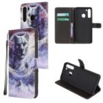 Cross Texture Pattern Printing Leather Wallet Cover with Strap for Samsung Galaxy A21 – Moon and Tiger