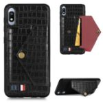 Crocodile Skin with Card Holder PU Leather Coated Cover for Samsung Galaxy A10 – Black