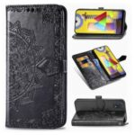 Embossed Mandala Flower Wallet Leather Stand Phone Protection Cover for Samsung Galaxy M31 – Black