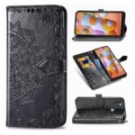 Embossed Mandala Flower Wallet Leather Stand Phone Protection Cover for Samsung Galaxy A11 – Black
