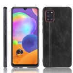 Leather Coated PC + TPU Combo Phone Shell for Galaxy A31 – Black
