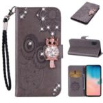 Owl Imprint Rhinestone Decor Leather Phone Cover for Samsung Galaxy A31 – Brown