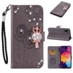 Owl Imprint Rhinestone Decor Leather Phone Shell for Samsung Galaxy A41 (Global Version) – Brown