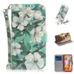 Pattern Printing Light Spot Decor Leather Wallet Case for Samsung Galaxy A11/M11 – Beautiful Flowers