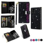 Glittery Starry Style Laser Carving Zipper Wallet Stand Leather Case for Samsung Galaxy A71 SM-A715 – Black