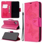Imprint Butterflies Wallet Stand Flip Leather Phone Shell for Huawei P40 LITE – Rose