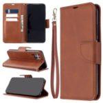 Solid Color PU Leather Cell Phone Cover for Huawei P40 lite/nova 6 SE/Nova 7i – Brown